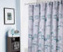 Syrie Gray and Green Spring Blooms Fabric Shower Curtain Lifestyle Image