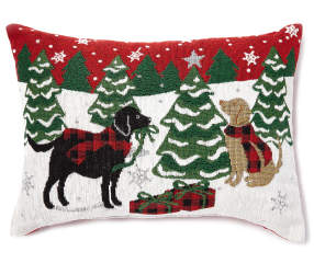 Chenille Holiday Dogs Throw Pillow 13 Quot X 18 Quot Big Lots