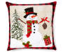 TIDINGS DEC PILLOW SNOWMAN APPL. 17IN.