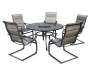 Tahoe Glass Top Patio Table with Lazy Susan and Spring Action Chairs Silo Image