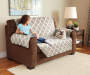 Tan and Geometric Reversible Loveseat Protector Lifestyle Image Geo Pattern
