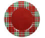 Tartan Plaid Charger Plate Overhead View Silo Image