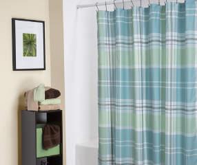 Living Colors Tartan Plaid Fabric Shower Curtain