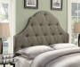 Taupe Button Tufted King Upholstered Headboard bedroom setting