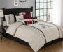 Taupe Red and Black Paris Pleated 8-Piece King Comforter Set Lifestyle Image