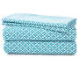 Teal Geometric Flower Microfiber 4-Piece Queen Sheet Set Silo
