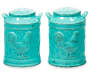Teal Rooster Salt and Pepper Shakers silo front