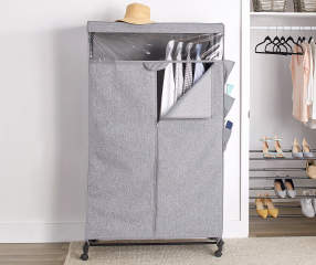 Simple Concepts Textured Gray Rolling Wardrobe Closet