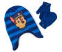 Toddler Blue Chase Stripe Earflap Hat and Mitten Set Overhead Shot Silo Image