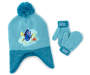 Toddler Finding Dory Earflap Hat and Mitten Set Displayed Overhead Shot Silo Image