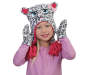 Toddler Snow Leopard Earflap Hat and Mitten Set On Model