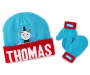 Toddler Thomas Hat and Mitten Set Displayed Overhead Shot Silo Image