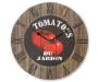 Tomatoes Kitchen Wall Clock with Rustic Wood Front View Silo Image