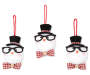 Top Hat Snowmen With Glasses Ornaments and Top Hats 3 Pack Overhead Shot Silo Image