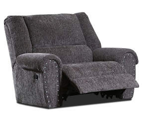 Trent Gray Chair Amp A Half Recliner With Nailhead Trim