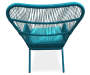 Turquoise All Weather Wicker 3 Piece Chat Set silo back view