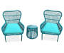 Turquoise All Weather Wicker 3 Piece Chat Set silo front