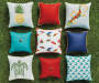Turquoise Button Outdoor Throw Pillow 17  inches x 17 inches collection