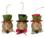 Twine Snowman Head Ornaments 3 Pack Overhead Shot Silo Image