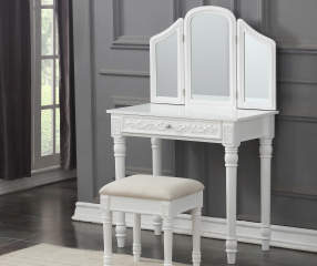 White Vanity Set With Trifold Mirror Big Lots