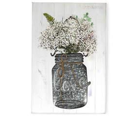 flower mason jar wood metal wall plaque big lots. Black Bedroom Furniture Sets. Home Design Ideas