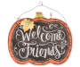Welcome Friends Pumpkin Wall Decor with Chalkbord Font Silo Image