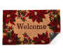 Welcome Poinsettia and Berries Coir Outdoor Doormat 18 Inches by 30 Inches Corner Folded Overhead View Silo Image