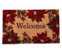 Welcome Poinsettia and Berries Coir Outdoor Doormat 18 Inches by 30 Inches Overhead View Silo Image