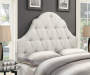 White Button Tufted Queen Upholstered Headboard bedroom setting