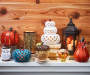 White Ceramic Stacked LED Pumpkins lifestyle image