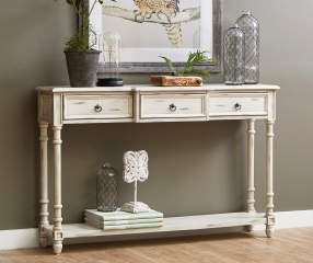 White Farmhouse 3 Drawer Console Table Big Lots