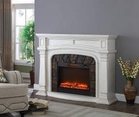 62 Quot White Grand Electric Fireplace Big Lots