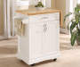 White Small Kitchen Cart with Drop Leaf Room View