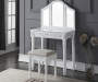White Vanity Trifold Mirror Set with Stool Room View
