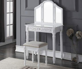 White Vanity Set With Tri Fold Mirror Big Lots