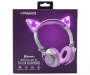 White and Purple Bluetooth Light Up Cat Wireless Headphones silo front package view