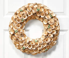 White Amp Teal Wooden Rose Curl Wreath 16 Quot Big Lots