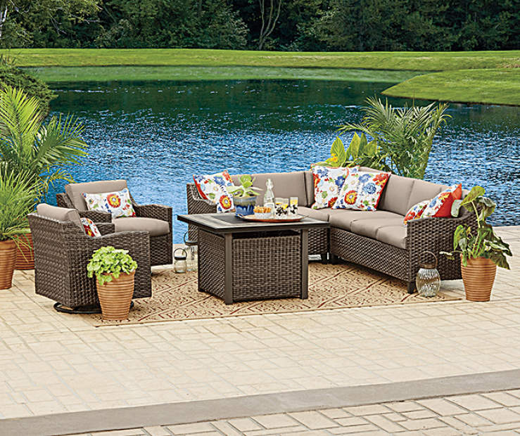 Wilson Fisher Augusta 6 Piece Modular Seating Set With Fire Pit Table Lots