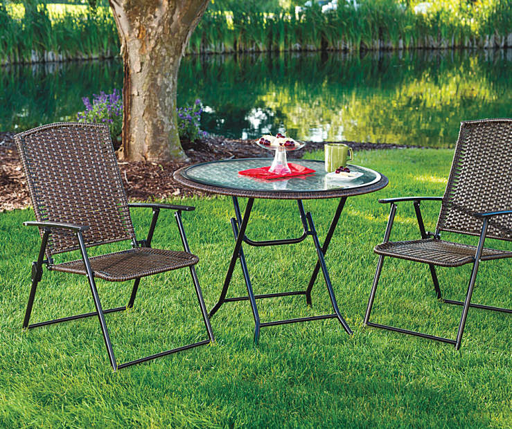 Dining Table Big Lots: Wilson & Fisher Resin Wicker Folding Dining Collection