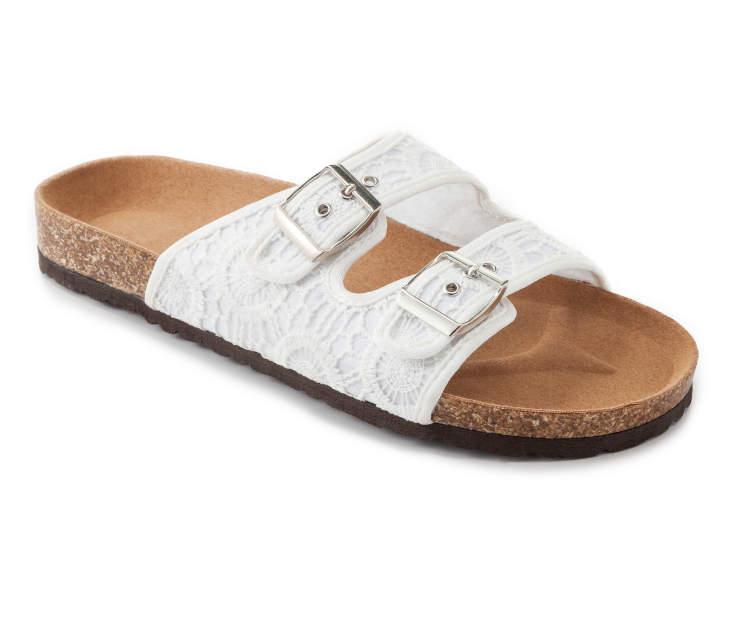 Unique Women39s Metallic Double Strap Sandals  Big Lots