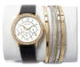 Womens Gold and Black Stackable Watch and Bracelet Set Silo
