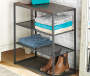 Wood and Metal 4 Tier Shelf with Items in Room Setting Lifestyle Image