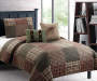 Woodlawn Plaid Tan and Sage 4 Piece Twin Quilt Set bedroom setting