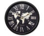 World Map Black Clock 15.75 Inches Overhead View Silo Image