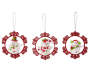 Wreath Snowmen Ornaments 3 Pack Overhead Shot Silo Image