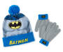 Youth Batman Pom Pom Hat and Glove Set Displayed Overhead Shot Silo Image