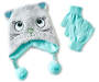 Youth Cat Earflap Hat and Glove Set Overhead Shot Silo Image