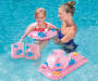 Youth Pink 5 Piece Inflatable Swim Set Outdoor Setting with Model in Pool Lifestyle Image