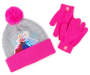 Youth Pink and Gray Frozen Hat and Glove Set Overhead Shot Silo Image