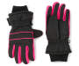 Youth Thinsulate Black and Pink Ski Gloves Overhead Shot Silo Image